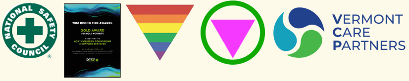 ALGBITAL Ally; Safe Zone; CARF Accredited; Member of the Vermont Care Partners Network; rainbow triangle logo, green circle with pink triangle logo, CARF logo, Vermont Care Partners Network logo