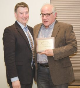 Todd Bauman with Michael Monte, Champlain Housing Trust Chief Operating and Financial Officer, receiving Marcheta Townsend Community Partner Award.
