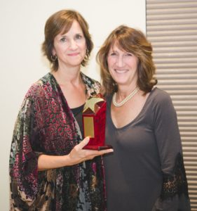 Nancy Taylor, Partner in Excellence Award recipient, with Kathy Brown.