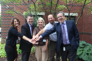 From left to right: Danielle Lindley-Mitchell, NCSS director of Children, Youth & Family Services; Todd Bauman, NCSS executive director; Pam Parsons, NOTCH executive director; Matt Tryhorne, NOTCH clinical director; Stephen Broer, NCSS director of Behavioral Health Services